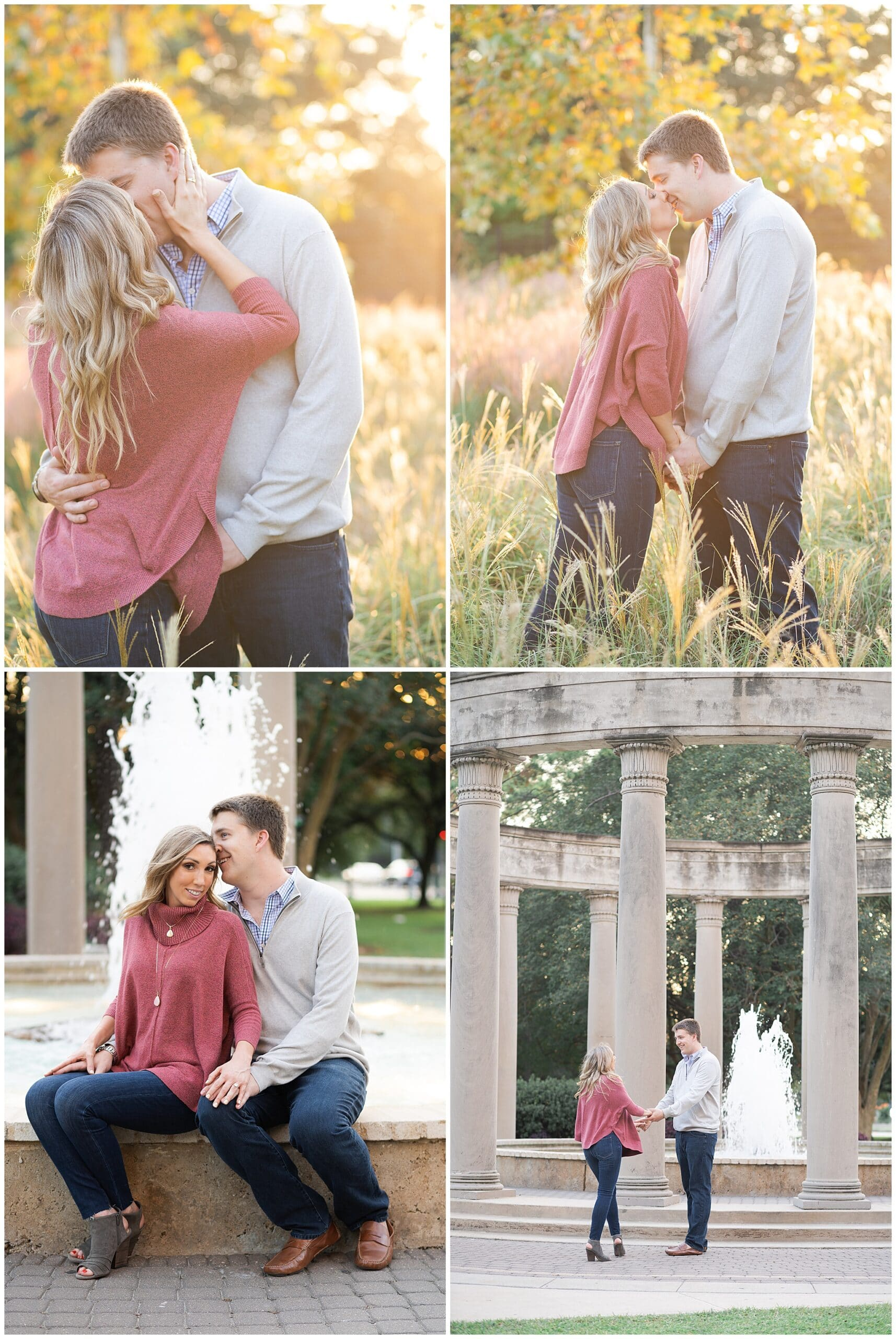a couple poses during their engagement photos at McGovern Centennial Gardens captured by Swish and Click Photography a Houston wedding photographer