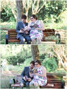 engaged couple reads a book at Mercer Botanic gardens in Houston Texas by Swish and Click Photography