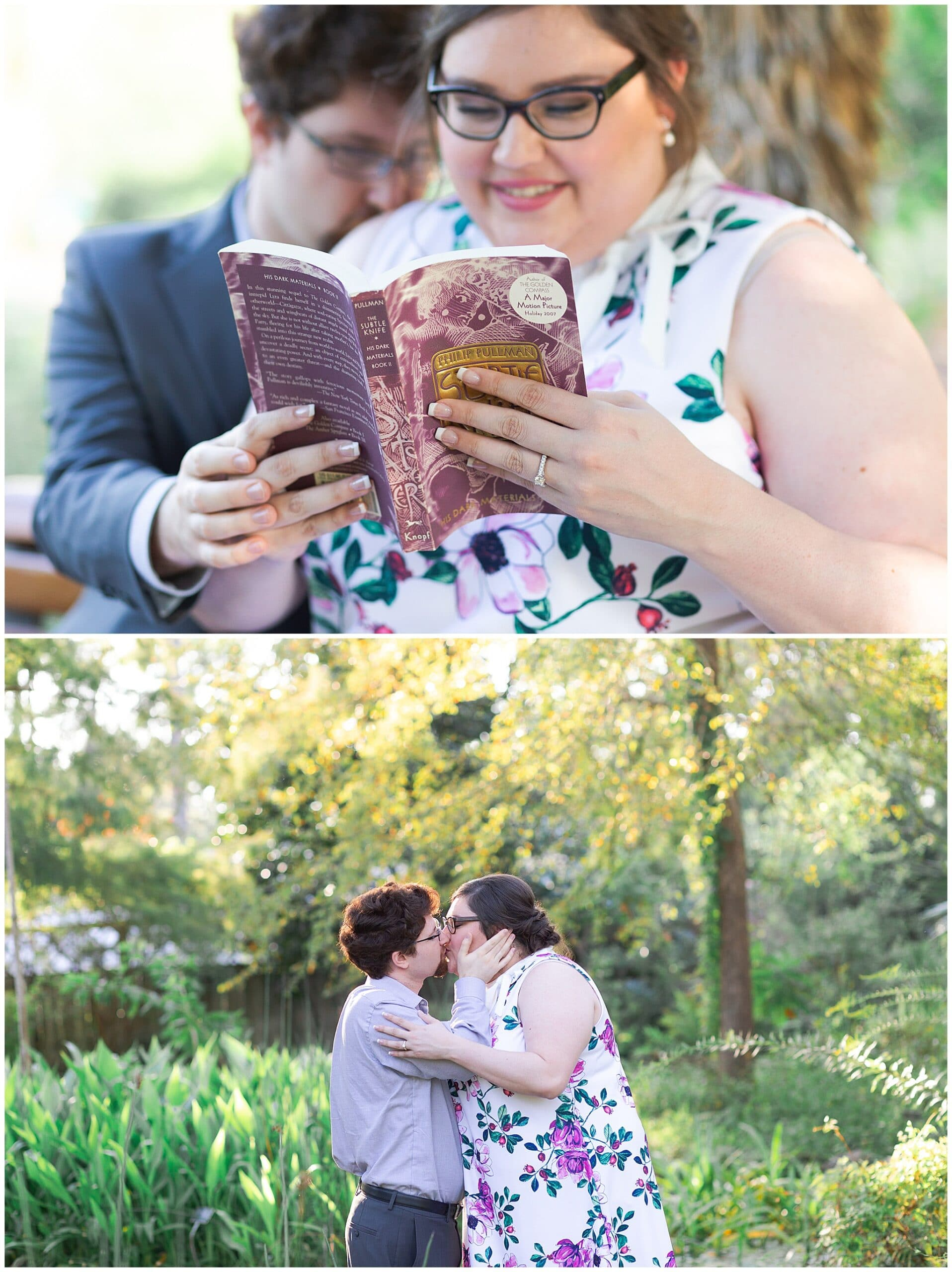 engaged couple kisses at Mercer Botanic gardens in Houston Texas by Swish and Click Photography