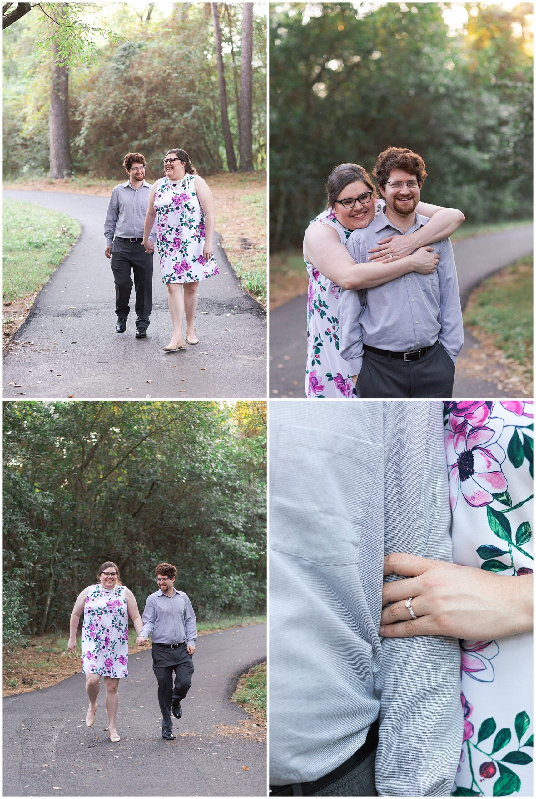 engagement session captured by Swish and Click Photography of a couple hugging at Mercer Botanic Gardens