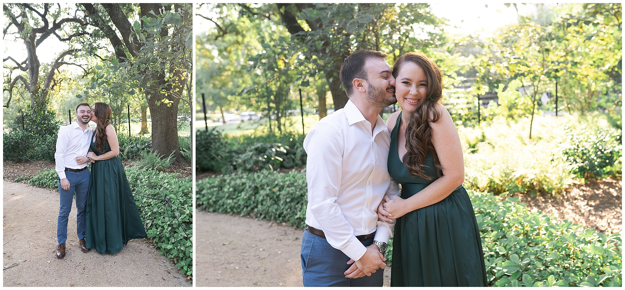 engaged couple giggle during their engagement session in Houston Texas captured by Swish and Click Photography