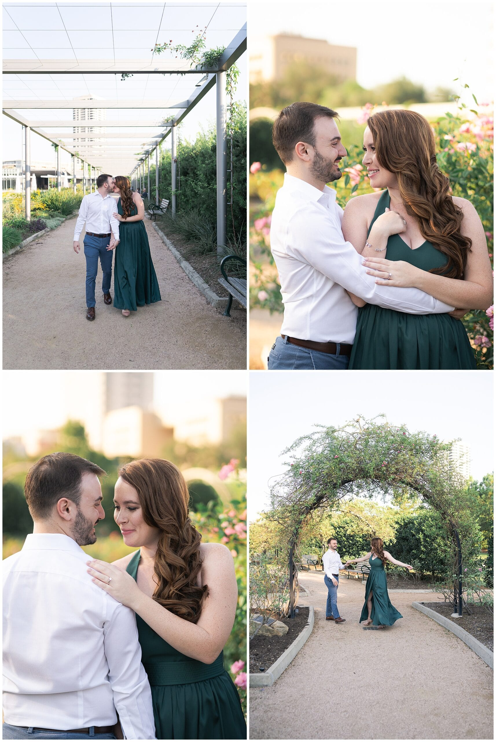 engaged couple dance during their engagement session at McGovern Centennial Gardens in Houston Texas captured by Swish and Click Photography
