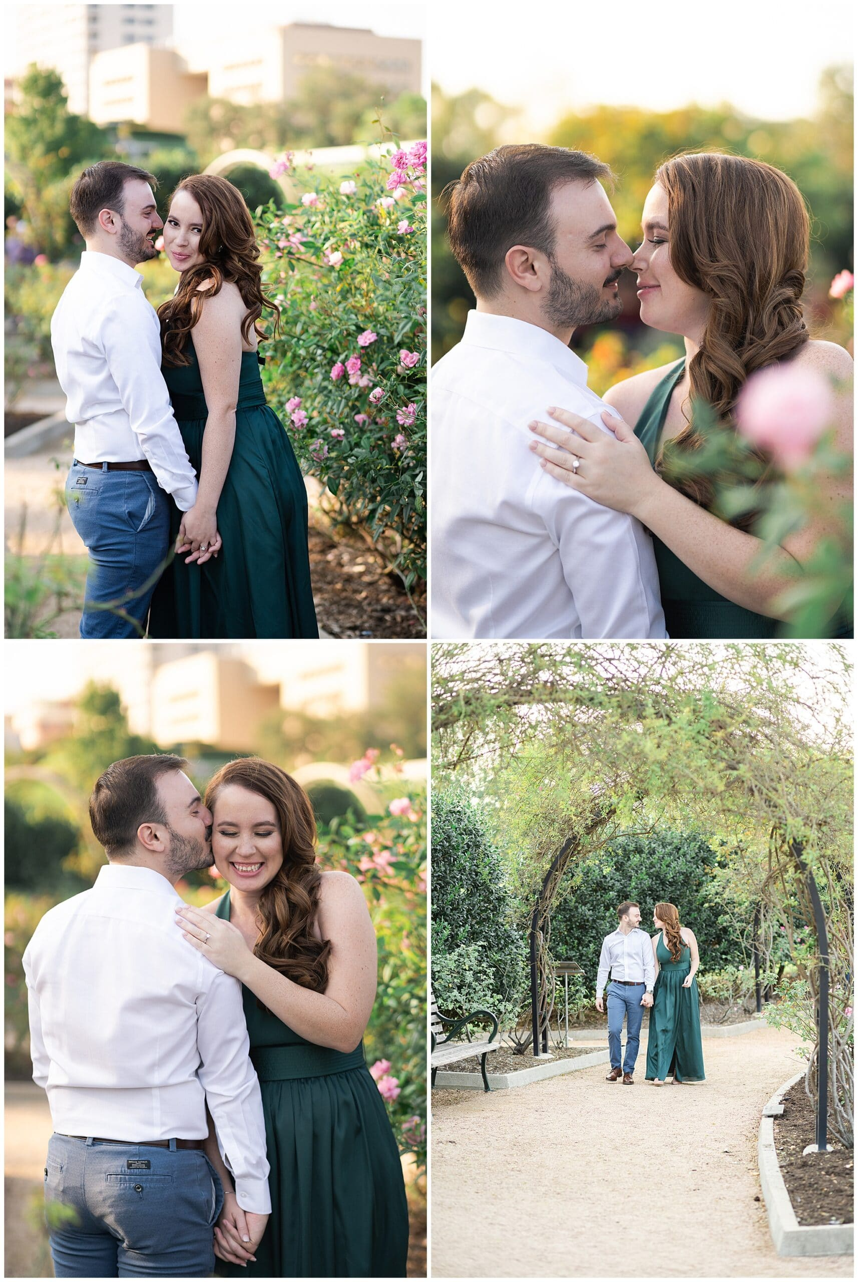 engaged couple kiss during their engagement session at McGovern Centennial Gardens in Houston Texas captured by Swish and Click Photography