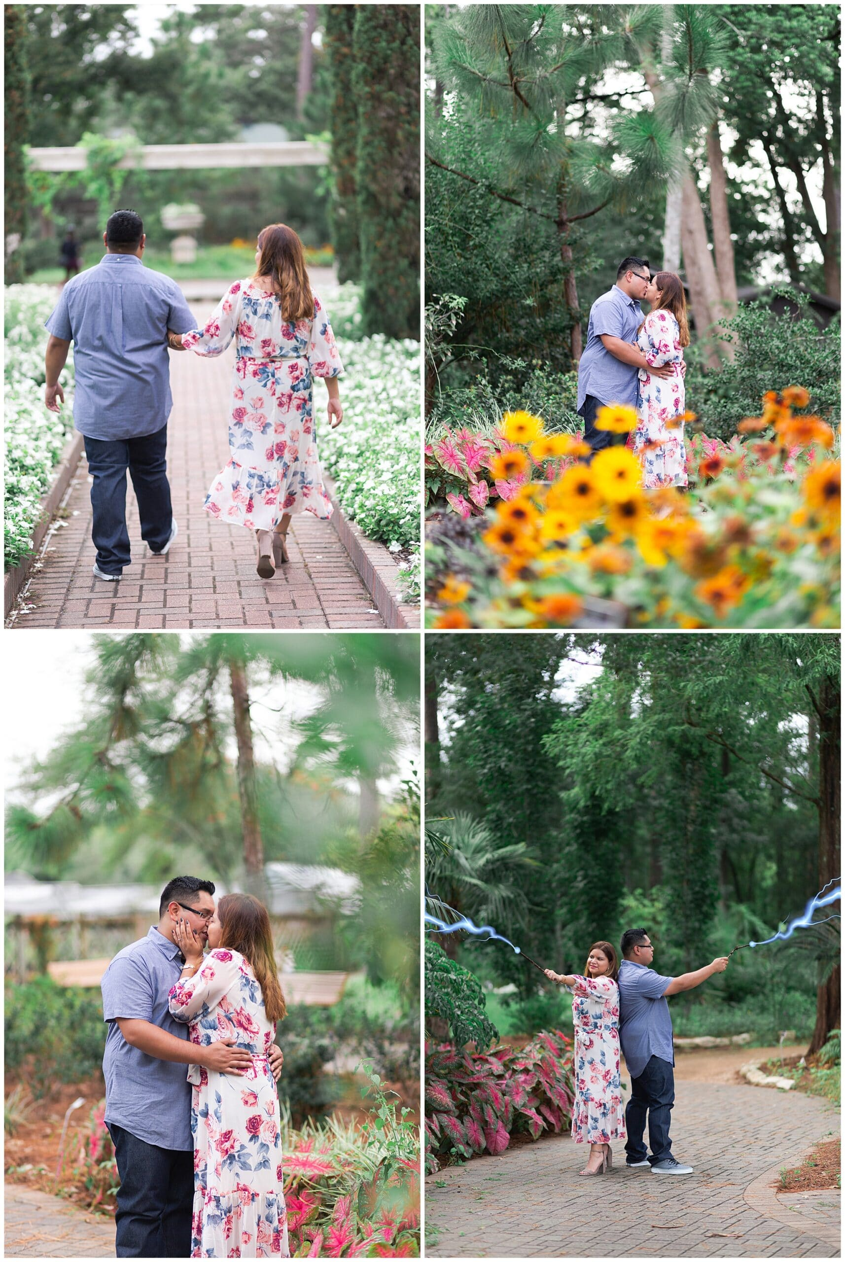 Swish and Click Photography captures engaged couple in Houston park during the springtime