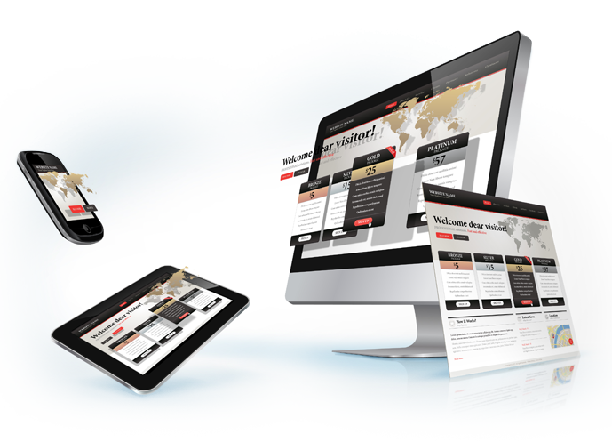 responsive web development on desktop computer, tablet and smartphone
