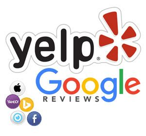 Local Listing Logos including Yelp, Google Maps, Apple, Bing, Yahoo, City Search, and Facebook for Business