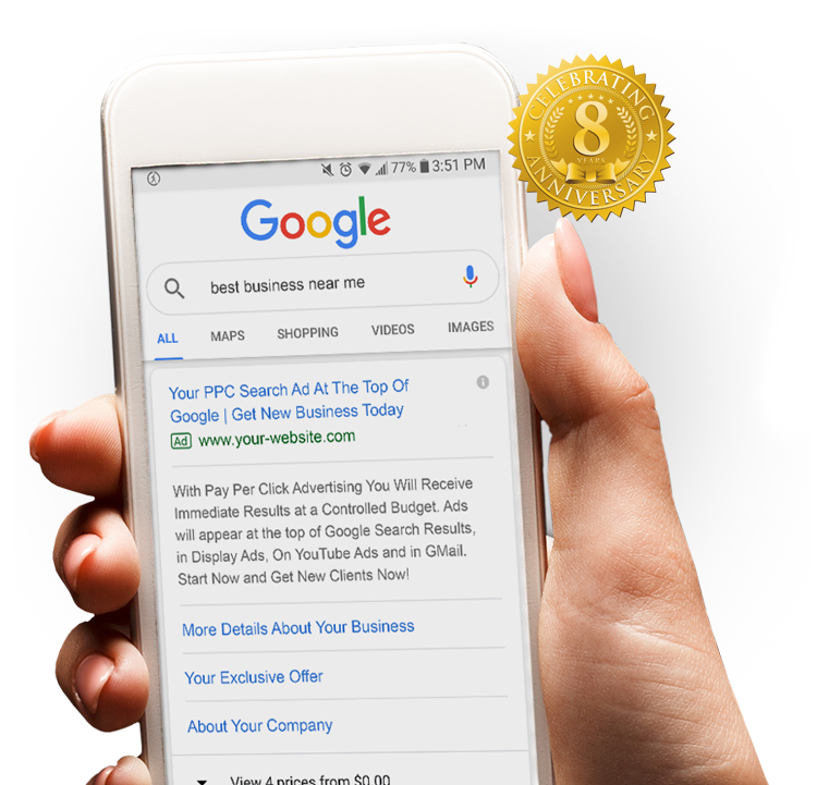 PPC results on cell phone example - 8 year anniversary badge