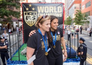 Jill Ellis (left) and Carli Lloyd during the U.S. Women's Team's 2015 victory parade in New York City.