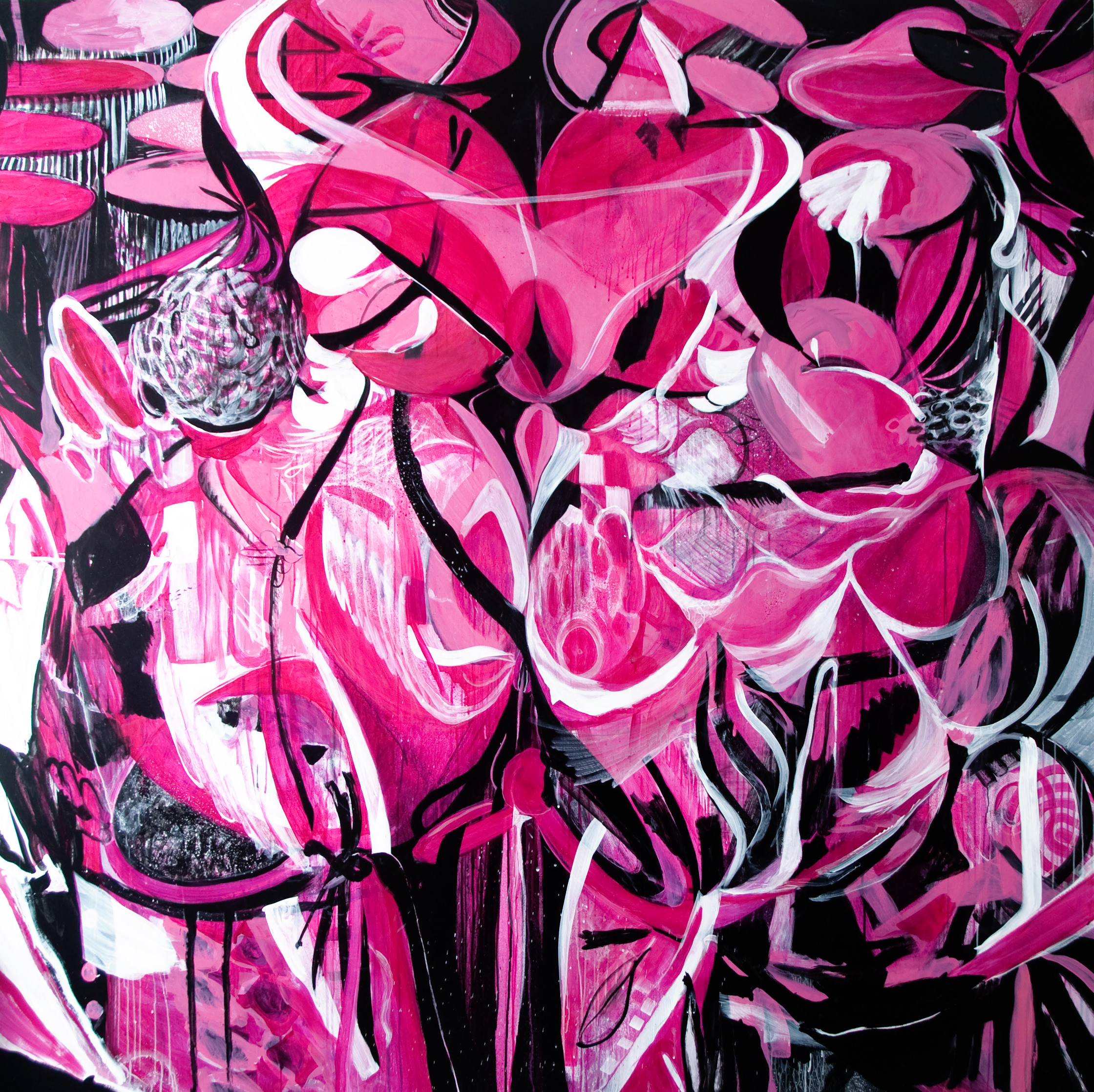 Pink Paradise | 71 x 71 inches | paint on canvas