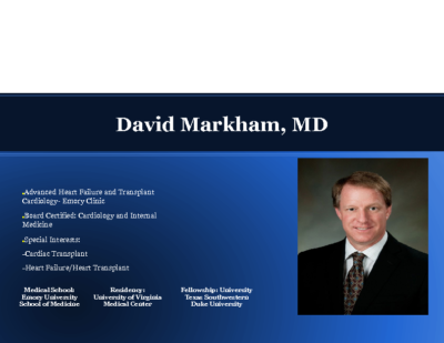 Advanced Heart Failure: Role of Mechanical Assist Devices,Dr. David Markham