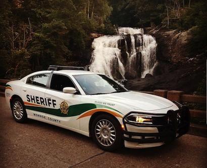 Sheriff Office cruiser at Bald River Falls