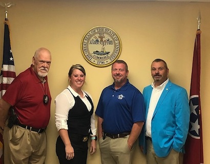 Captain Detective Mack Williams, Detective Samantha Filley, Sheriff Tommy Jones, and Chief Deputy Chris White