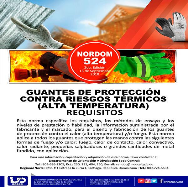 NORDOM 524 (1RA REV. 2018) GUANTES DE PROTECCIÓN CONTRA RIESGOS TÉRMICOS, (ALTA TEMPERATURA)