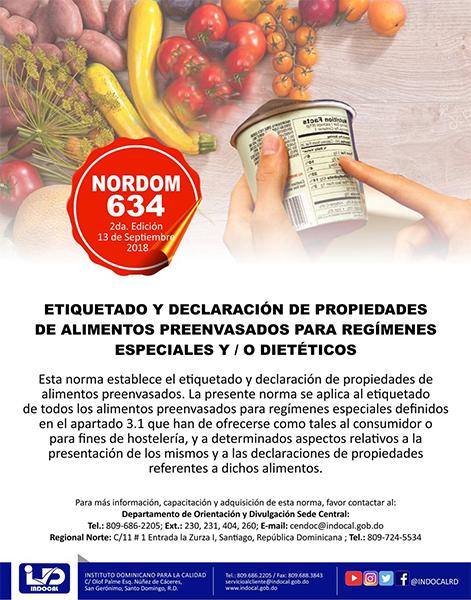 NORDOM-634 Etiquetado y declaración de propiedades de alimentos preenvasados