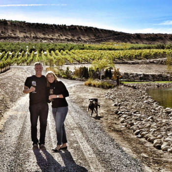 Rocky Pond Winery Owners David and Michelle with their dog