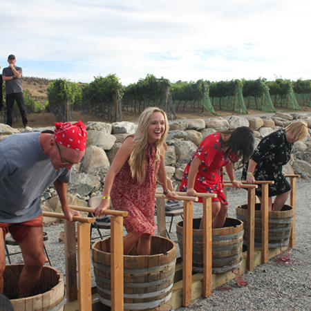 Harvest Party 2018 Stomping Grapes