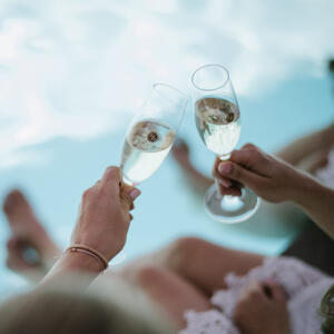 Rocky Pond wine glasses cheers