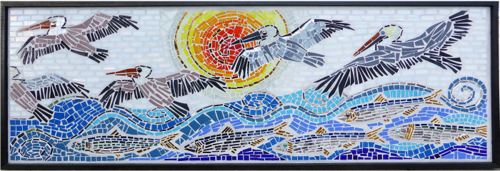 co-creating mosaic art community art community mosaic glass mosaic glass mosaic mural how to make mosaics mosaic classes instruction mosaic mural mural art Nature Mosaics school art mosaic youth mosaics  Youth Art Camp Mosaics vcaf_pelicans_highres-700x240
