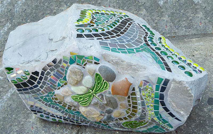 architectural mosaics ecological re-use glass mosaic how to make mosaics mosaic art mosaic sculpture Nature Mosaics utilitarian art  Dragonfly Mosaic Rock Bench Garden Seat dragonfly-mosaic-rock-bench-face-700x440sfw-700x440