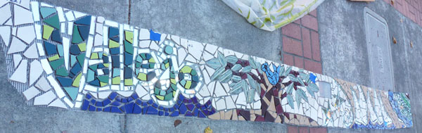 architectural mosaics co-creating mosaic art community art community mosaic green art large scale art big art mosaic art Nature Mosaics public mosaic art tree of life upcycling urban mosaic art  Mosaic Planters Community Participation planters-mosaic-blue-bird-happiness-fiberglass-mesh-installation-600x189sfw