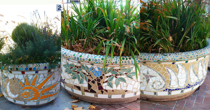 architectural mosaics co-creating mosaic art community art community mosaic green art large scale art big art mosaic art Nature Mosaics public mosaic art tree of life upcycling urban mosaic art  Mosaic Planters Community Participation planters-mosaic-composite-banner-860x450sfw-700x366