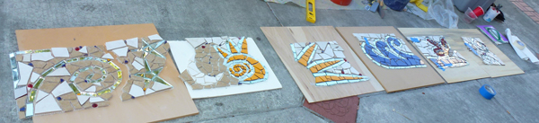 architectural mosaics co-creating mosaic art community art community mosaic green art large scale art big art mosaic art Nature Mosaics public mosaic art tree of life upcycling urban mosaic art  Mosaic Planters Community Participation planters-mosaic-fiberglass-mesh-sun-moon-stars-600x137sfw