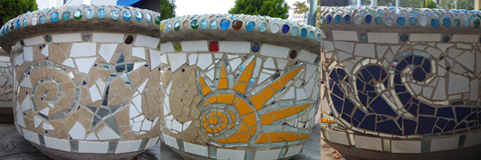 architectural mosaics co-creating mosaic art community art community mosaic green art large scale art big art mosaic art Nature Mosaics public mosaic art tree of life upcycling urban mosaic art  Mosaic Planters Community Participation planters-mosaic-georgia-composite-waves-sun-moon-stars-750x250sfw-700x233