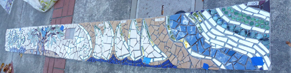 architectural mosaics co-creating mosaic art community art community mosaic green art large scale art big art mosaic art Nature Mosaics public mosaic art tree of life upcycling urban mosaic art  Mosaic Planters Community Participation planters-mosaic-georgia-waves-butterfly-fiberglass-mesh-indirect-mosaic-napa-river-installation-600x151sfw
