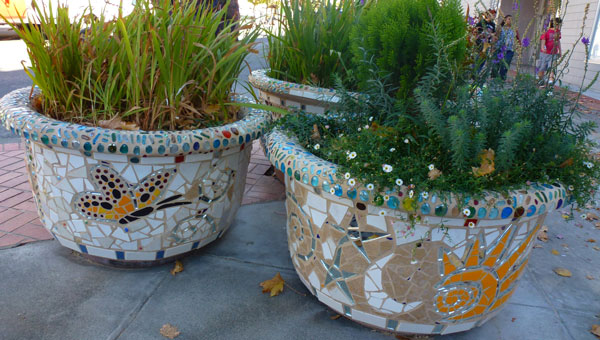 architectural mosaics co-creating mosaic art community art community mosaic green art large scale art big art mosaic art Nature Mosaics public mosaic art tree of life upcycling urban mosaic art  Mosaic Planters Community Participation planters-mosaic-sun-butterfly2-600x340sfw