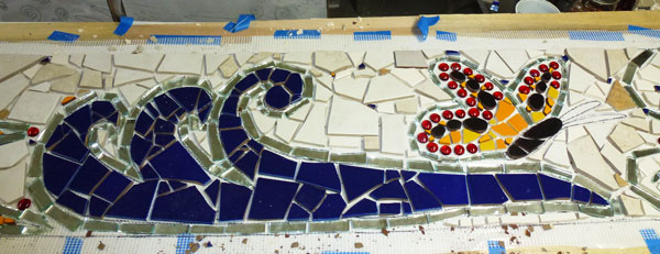 architectural mosaics co-creating mosaic art community art community mosaic green art large scale art big art mosaic art Nature Mosaics public mosaic art tree of life upcycling urban mosaic art  Mosaic Planters Community Participation planters-mosaic-waves-butterfly-fiberglass-mesh-studio-in-progress-600x231sfw