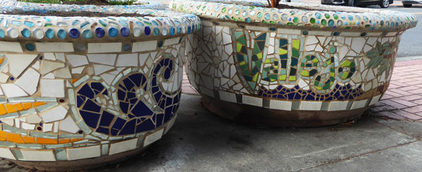 architectural mosaics co-creating mosaic art community art community mosaic green art large scale art big art mosaic art Nature Mosaics public mosaic art tree of life upcycling urban mosaic art  Mosaic Planters Community Participation planters-mosaic-waves-napa-river-vallejo-600x245sfw
