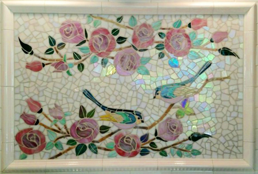 glass mosaic  Glass Mosaic Backsplash - Birds & Roses Appliqué Technique backsplash_birds_roses-full-840x568sfw