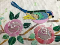 glass mosaic  Glass Mosaic Backsplash - Birds & Roses Appliqué Technique birds-roses-backsplash-detail-birds-studio-700x525sfw-250x188