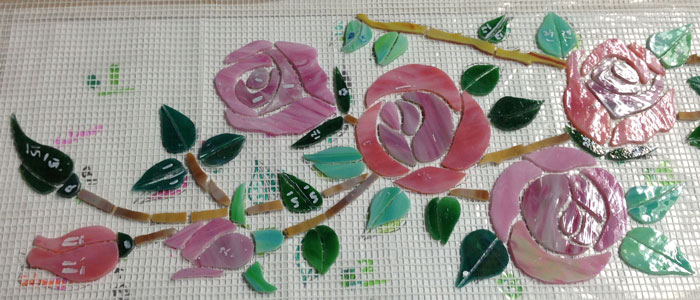 glass mosaic  Glass Mosaic Backsplash - Birds & Roses Appliqué Technique birds-roses-backsplash-detail-studio-700x300sfw