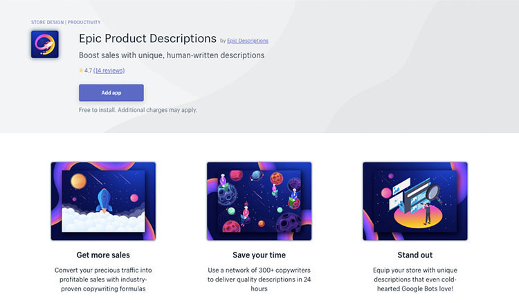 Free Shopify App Epic Product Descriptions for Content Creation