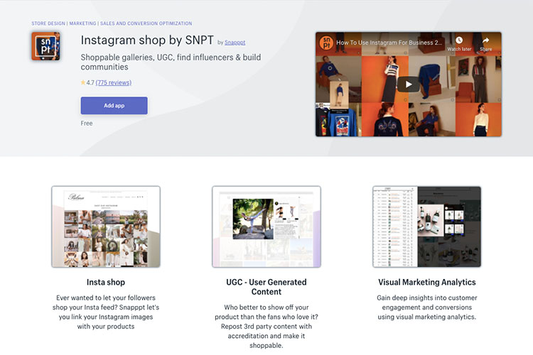 Free Shopify App instagram shop by SNPT for social media