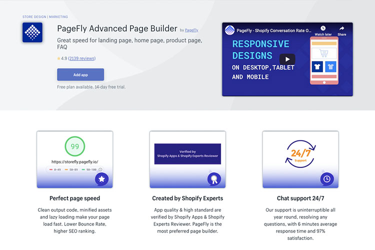 Free Shopify App PageFly for Content Creation