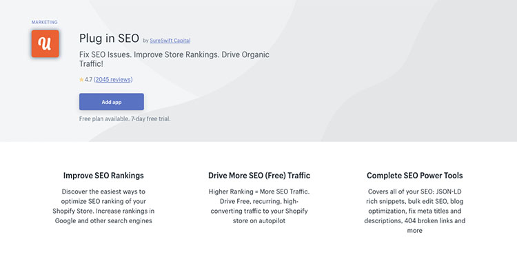 Free Shopify App Plug in SEO for driving traffic