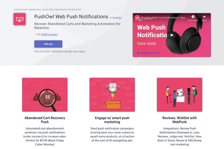 Free Shopify App PushOwl for increased sales