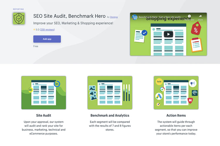 Free Shopify App SEO Site Audit, Benchmark Hero for driving traffic