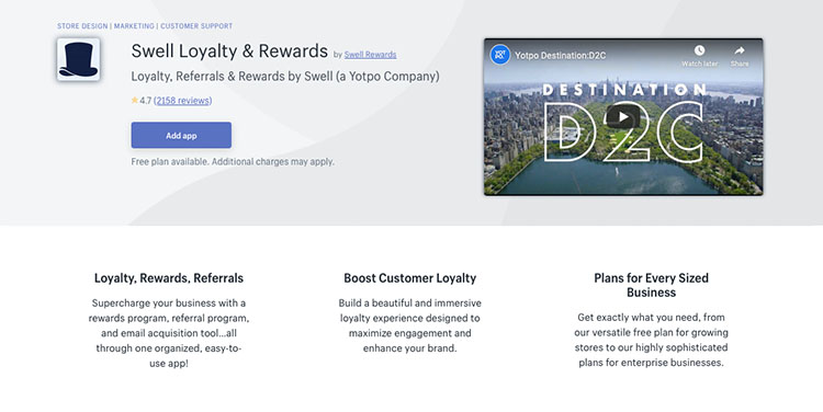 Free Shopify App Swell Loyalty & Rewards for Promotions & Marketing