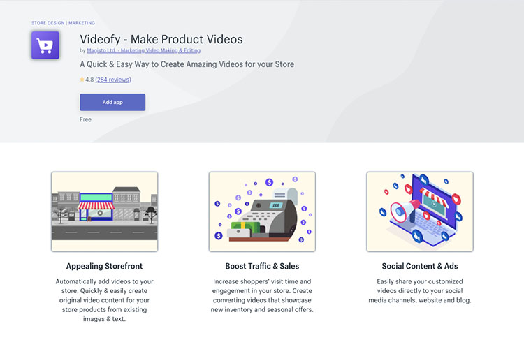 Free Shopify App Videofy for Content Creation