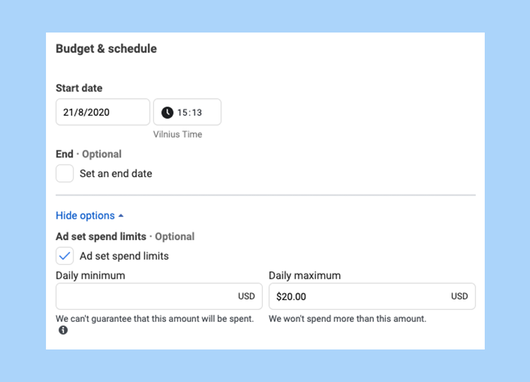 Budget and schedule of ad set in Facebook ads manager