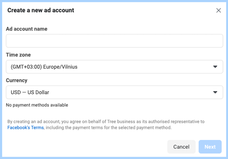 Facebook ads manager set-up. Create a new ad account
