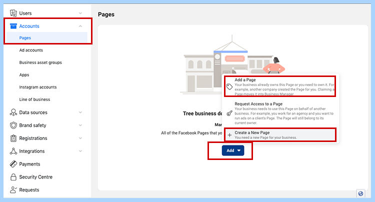 Facebook ads manager set-up. Create or select created page on Facebook