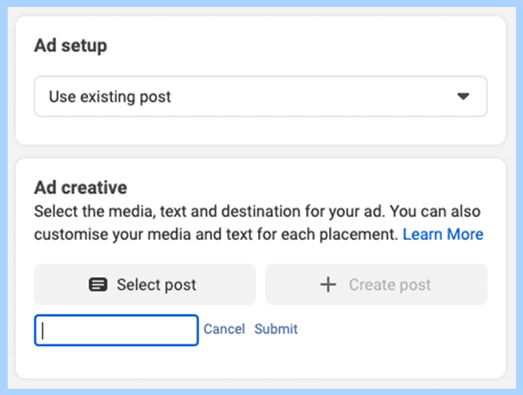 Use existing post in Facebook ad setup