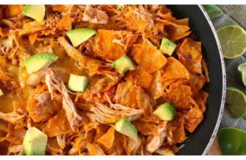 one pan dinner recipe, easy dinner, chicken dinner, chicken enchiladas, mexican dish, one pan dinner