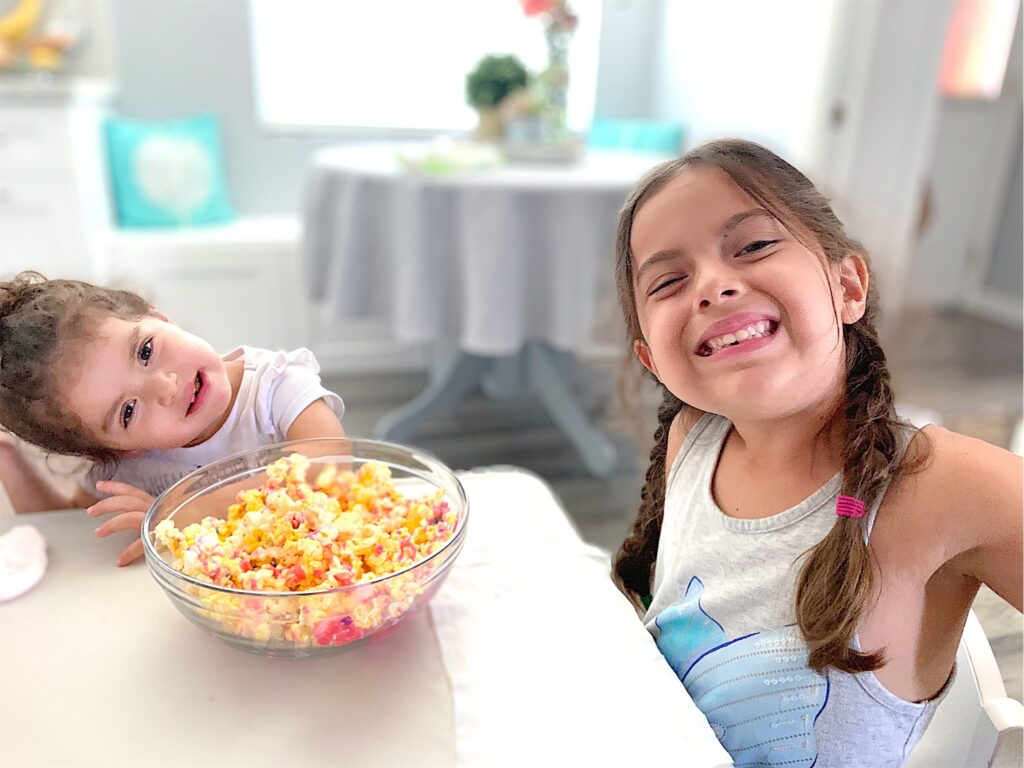 unicorn popcorn, unicorn food, unicorn party, pink and purple, girl mom