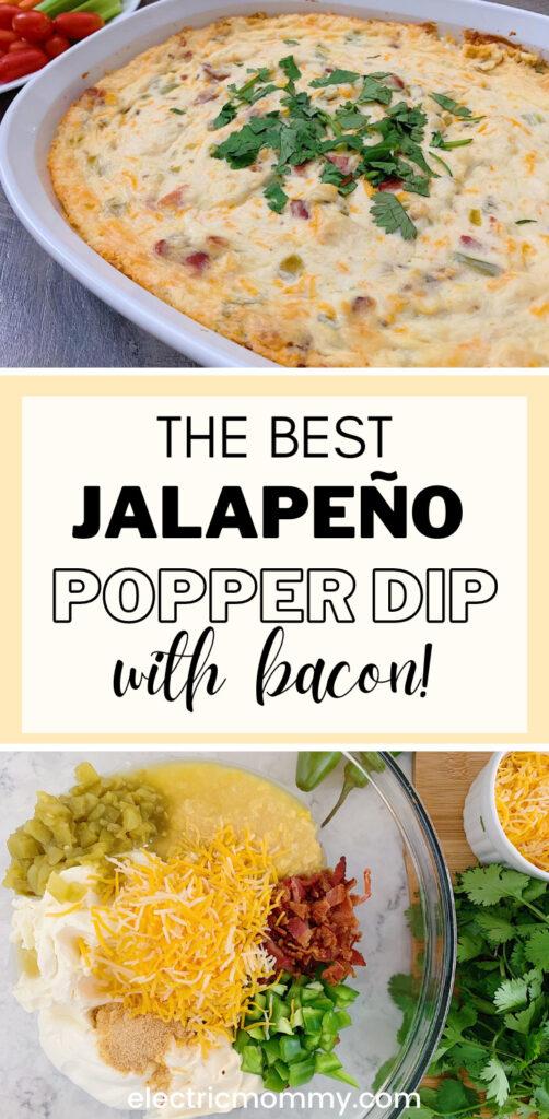 Jalapeno Bacon Dip | Jalapeno Bacon Popper Dip | Jalapeno Popper Dip #appetizers #diprecipes #jalapenopopperdip