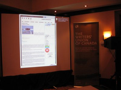 Tuck Magazine on display at the Writers' Union of Canada AGM